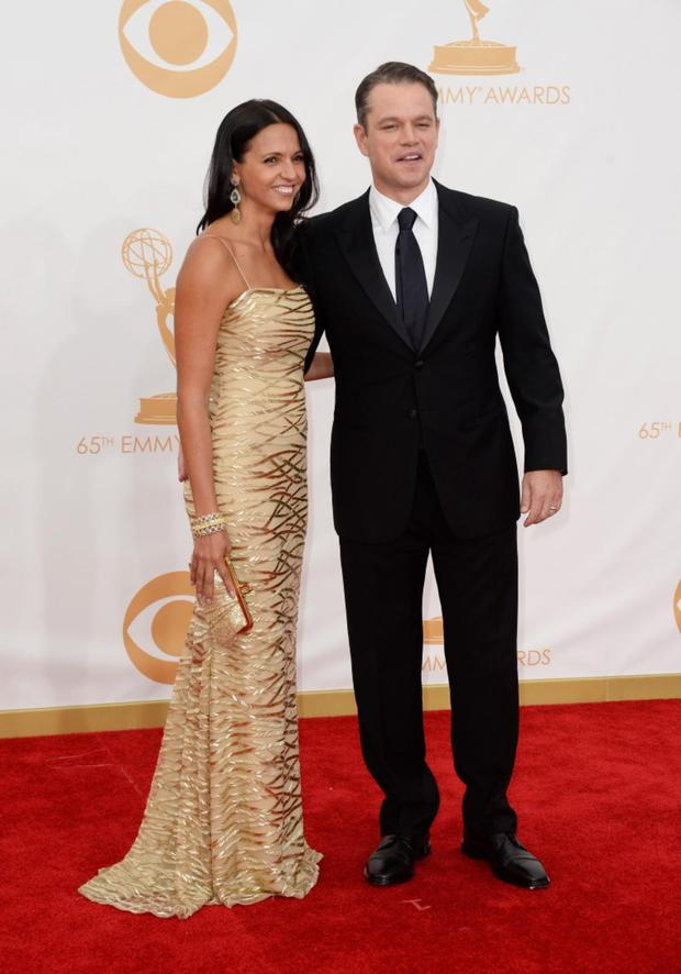 LOS ANGELES, CA - SEPTEMBER 22: Actor Matt Damon (R) and Luciana Barroso arrive at the 65th Annual Primetime Emmy Awards held at Nokia Theatre L.A. Live on September 22, 2013 in Los Angeles, California. (Photo by Frazer Harrison/Getty Images)