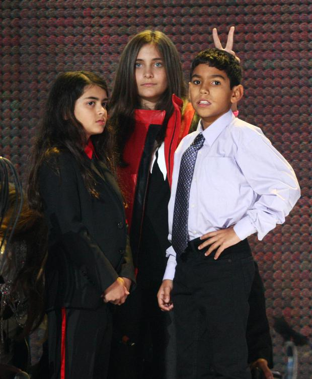Blanket Jackson and Paris Jackson onstage at the Michael Forever concert to remember the late Michael Jackson at The Millenium Stadium. (Photo by Dave J Hogan/Getty Images)