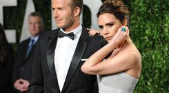David Beckham and Victoria Beckham attend the 2012 Vanity Fair Oscar Party at Sunset Tower on February 26, 2012 in West Hollywood, California. (Photo by Jon Kopaloff/FilmMagic)