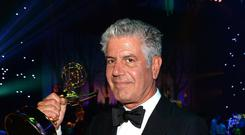 Television host Anthony Bourdain poses at the 2013 Creative Arts Emmy Awards Governors Ball held at the Los Angeles Convention Center on September 15, 2013 in Los Angeles, California.