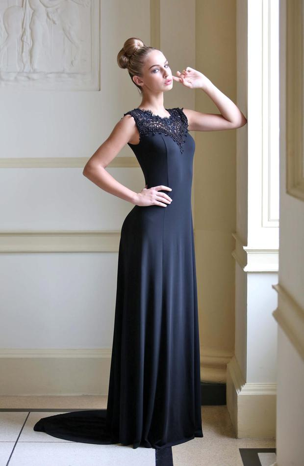 Model Thalia Heffernan wearing a Maxine Black Jersey Gown with black lace jewelled neckline detail at 3,995 at the launch of the Louise Kennedy Art Deco inspired Autumn/Winter 2013 Collection at The Hugh Lane Gallery, Parnell Square, Dublin.