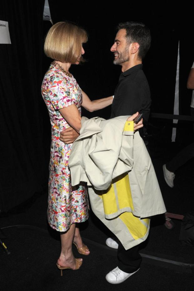 NEW YORK, NY - SEPTEMBER 12: Conde Nast Artistic Director Anna Wintour and designer Marc Jacobs poses backstage at the Marc Jacobs Spring 2014 fashion show at The New York State Armory, 68 Lexington on September 12, 2013 in New York City. (Photo by Jamie McCarthy/Getty Images for Marc Jacobs)