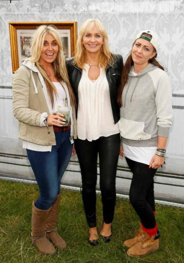 Miriam OCallaghan with her daughters Georgia and Jessica at the Casa Bacardi Arena at Electric Picnic.