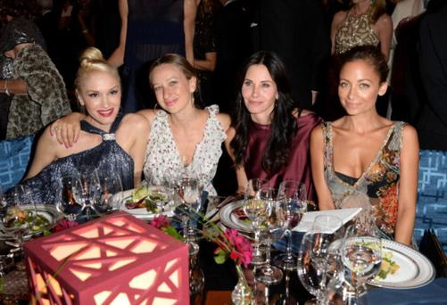 BEVERLY HILLS, CA - OCTOBER 17: (L-R) Singer Gwen Stefani, wearing Ferragamo, designer Jennifer Meyer, actress Courteney Cox, and designer Nicole Richie attend the Wallis Annenberg Center for the Performing Arts Inaugural Gala presented by Salvatore Ferragamo at the Wallis Annenberg Center for the Performing Arts on October 17, 2013 in Beverly Hills, California. (Photo by Jason Merritt/Getty Images for Wallis Annenberg Center for the Performing Arts)