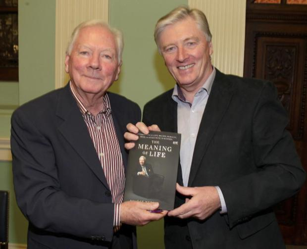 Gay Byrne and Pat Kenny tonight at the launch of Gay Byrne's book