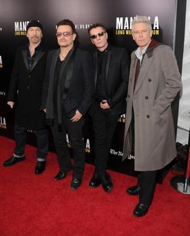 The Edge, Bono, Larry Mullen, Jr., Adam Clayton attends U2 And Anna Wintour Host A Special Screening Of Mandela: Long Walk To Freedom.