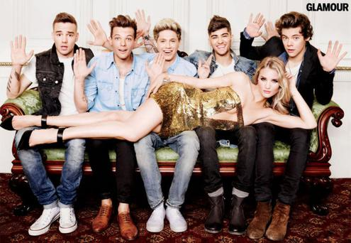 Rosie Huntington-Whiteley wears a stunning gold bandeau dress for a shoot with One Direction in Glamour magazine