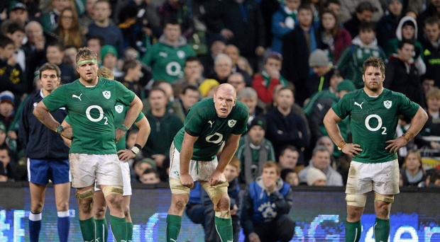 Dejected Ireland players, from left, Jamie Heaslip, Paul OConnell and Sean OBrien at the end of the game against the All Blacks in 2013