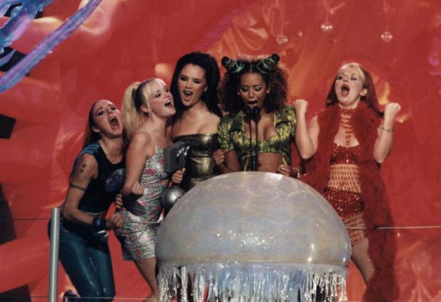 SPICE GIRLS,collecting award at the MTV Europe Music Awards held in Rotterdam