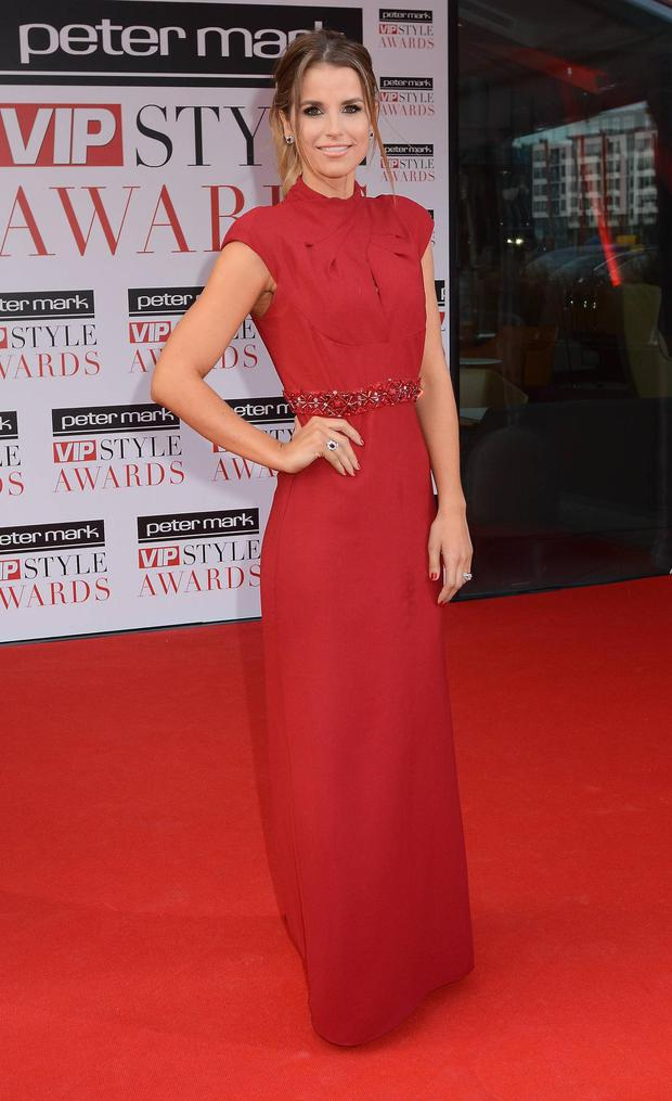 Vogue Williams high neck Badgley Mischka dress is classic elegance at its best.