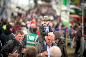 James O'Dea (4) with his grandfather Tom on the first day of the National Ploughing Championships at Ratheniska, near Stradbally, Co Laois.