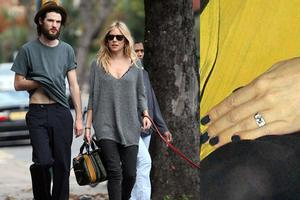 The actress, who was previously engaged to Jude Law, said yes to her boyfriend of one year, the actor Tom Sturridge when he presented her with a diamond sparkler.  Sienna gave birth to the couples daughter Marlowe in July.