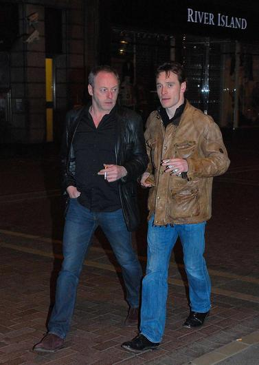 Michael Fassbender hitting the town again, this time with acting buddy Liam Cunningham as they head to Lillies Bordello for a party in 2010.