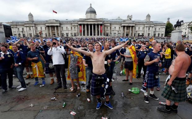 Scottish football fans gather in Trafalgar Square, London, ahead of an international friendly match between England and Scotland at Wembley.