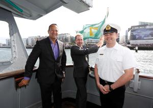 No Repro Fee. Minister for Transport, Tourism and Communications, Leo Varadkar T.D. (left) with Lord Mayor of Dublin, Oisín Quinn and Captain Alan O'Regan, pictured onboard the Naval Vessel the Elle Emer as the minister officially opens the 2013 IAA FlightFest. Pic. Robbie Reynolds  Spectators enjoying the ariel fun at the IAA FlightFest which took place on the River Liffey, Dublin. Pic. Robbie Reynolds