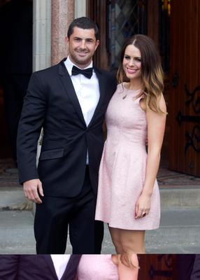 Rugby star Rob Kearney and Susie Amy at Gordon D'Arcy and Aoife Cogan's wedding in 2012