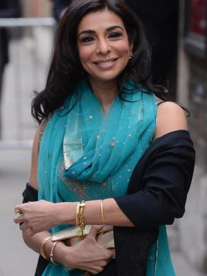 Actress Shobna Gulati arrives for the wedding of Coronation Street actress Helen Worth, who plays Gail Platt in the popular television soap opera, to Trevor Dawson at St James Church in London.
