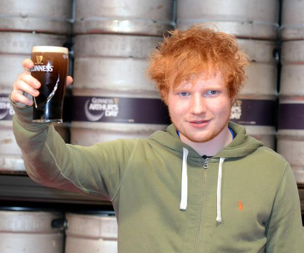 How Irish does Ed Sheeran look in this photo? The red hair, the green hoodie and the pint of Guinness.The Suffolk boy is a regular visitor here and has lots of family connections in Co Wexford where his grandparents still live in Gorey.