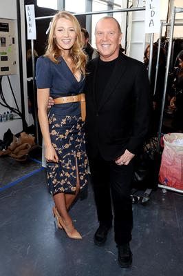 Backstage with the designer himself, Lively went for spring chic at Michael Kors New York Fashion Week showcase