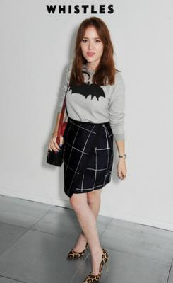 LONDON, ENGLAND - SEPTEMBER 14:  Angela Scanlon attends the front row at the Whistles show during London Fashion Week SS14 at Heron Tower on September 14, 2013 in London, England.  (Photo by David M. Benett/Getty Images for Whistles)