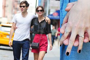 The actress, who is engaged to Klaxtons star James Righton, is the proud bearer of a diamond sparkler.