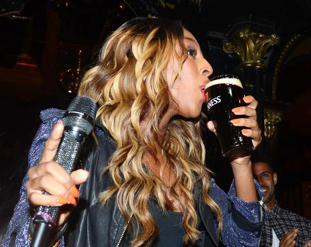 X Factor star Alexandra Burke celebrated her 24th birthday with a pint of Guinness and a birthday cake at 'The George' niteclub in Dublin.