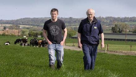 Wake-up call: Former IFA president Eddie Downey broke his pelvis, damaged his bladder and broke a bone in his wrist in a 12-foot fall on his farm recently; he is pictured with his son Paddy on their holding near Slane. Photos: David Conachy