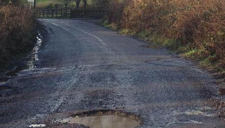 Pothole on rural road in east Cork
