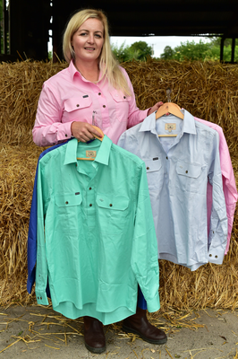 Practical and stylish: Claire Power with some of her shirts