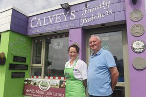 Martin with his daughter Grainne at their butcher shop. Photo: Conor McKeown