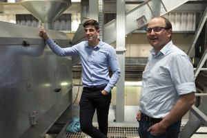High-tech: Jack Rogers (right) and David Hobson examine  a grain cleaning and drying facility at Warrenstown farm in Drumree, Co Meath