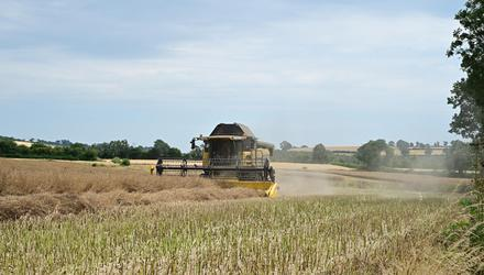 Contractor and farmer Gilbert Smyth seen here harvesting the first crop of OSR in Co Carlow. Gilbert was happy with the crop The Yield 1.4 T/A Moisture 9.2 with the price this year much better than Last year. Photo Roger Jones.