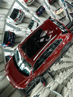 Scandal: Cars stand in one of Volkswagen's twin towers at its Autostadt customer centre in Wolfsburg, Germany. Photo: Sean Gallup/Getty Images