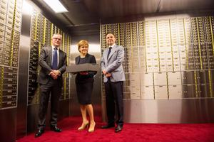 Seamus Fahy, SNP leader Nicola Sturgeon and David Walsh in the new Merrion Vaults facility in Glasgow, Scotland