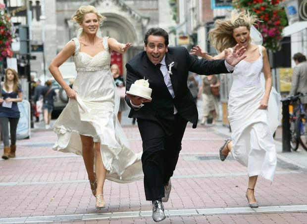 Peter Kelly, also known as 'Franc', launching the wedding magazine 'Franc Wedding Secrets' in 2009 with model brides Sarah McGovern and Sarah Morrissey