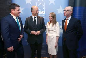 Pierre Moscovici, European Commissioner for Economic and Financial Affairs, Taxation and Customs, with from left to right, Dara Murphy T.D., Minister of State for European Affairs and Data Protection, and Loretta O'Sullivan