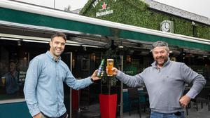 Munster and Ireland rugby star Conor Murray launches the Heineken support programme with Tony Campion, owner of The Silver Key in Ballinlough, Co Cork. Photo: Naoise Culhane