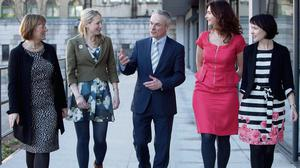 Julie Sinnamon, CEO, Enterprise Ireland, left, and Jobs and Enterprise Minister Richard Bruton, with Julia O'Rourke of Rempad, Yvonne Brady, EVB Sports Shorts and Martina Skelly of Yellow Schedule. Photo: Shane O'Neill Fennells
