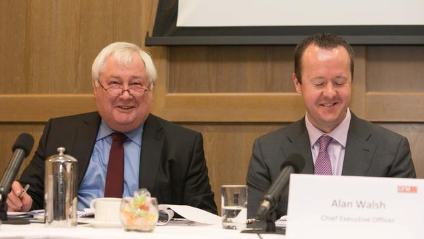 One51 chairman Denis Cregan and CEO Alan Walsh at the Radisson Blu Royal Hotel in Dublin. Photo: Collins