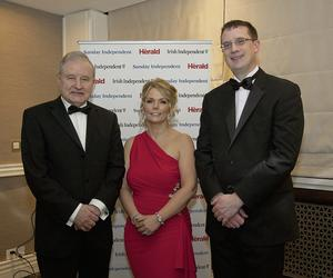 DINNER EVENT: At the Society of Chartered Surveyors of Ireland annual dinner were John Grady (RIAI), Ciara Murphy (Director General of the Society of Chartered Surveyors Ireland) and Brian O'Driscoll (SCSI Director of Regulation)