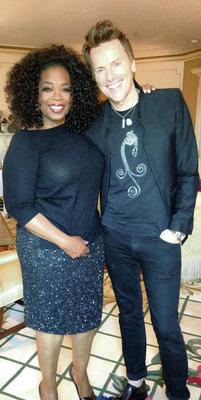Oprah Winfrey (in a Theia skirt) with Don O'Neill