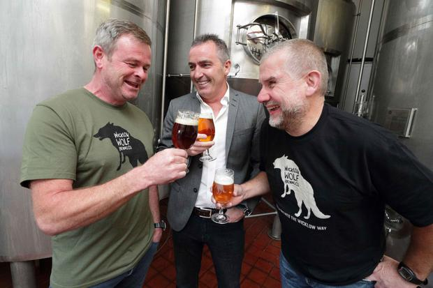 Simon Lynch, co-owner, Wicklow Wolf; Stephen Twaddell, chair, HBAN Food Syndicate; and Quincey Fennelly, co-owner, Wicklow Wolf. Photo: Philip Leonard
