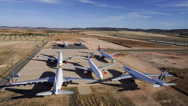 Grounded aircraft at Ciudad Real International Airport, in Spain as governments brought the travel industry to a halt. Picture by Paul Hanna/Bloomberg
