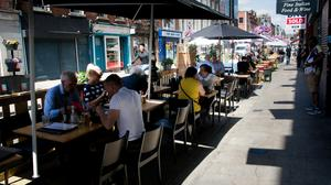 Outdoor dining on Capel street in the good weather during the Covid 19 Coronavirus pandemic in Dublin's city centre. Photo: Gareth Chaney/Collins