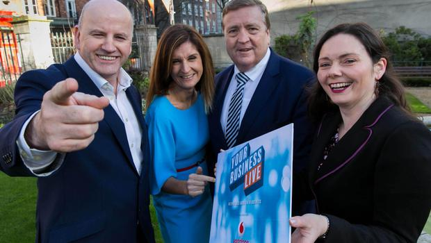 INM writer and entrepreneur Sean Gallagher; Claire Reynolds, Vodafone Ireland; Minister of State for Employment and Small Business Pat Breen; and Patricia Callan, director, SFA, at the Your Business Live launch. Photo: Shane O'Neill