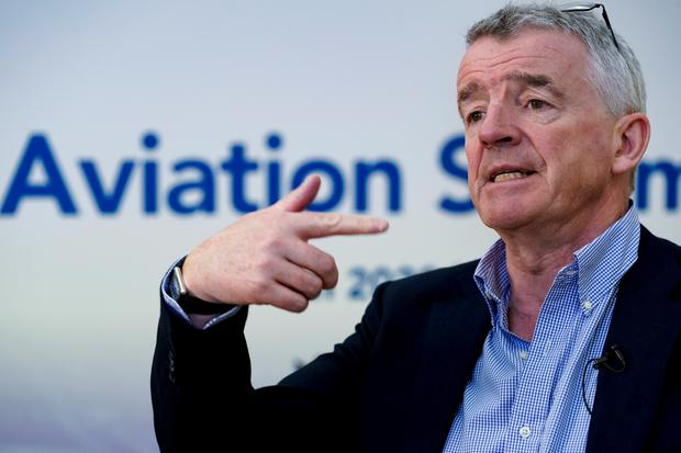 Ryanair CEO Michael O'Leary gestures during an AFP interview at A4E aviation summit in Brussels on March 3, 2020. Photo by KENZO TRIBOUILLARD/AFP via Getty Images