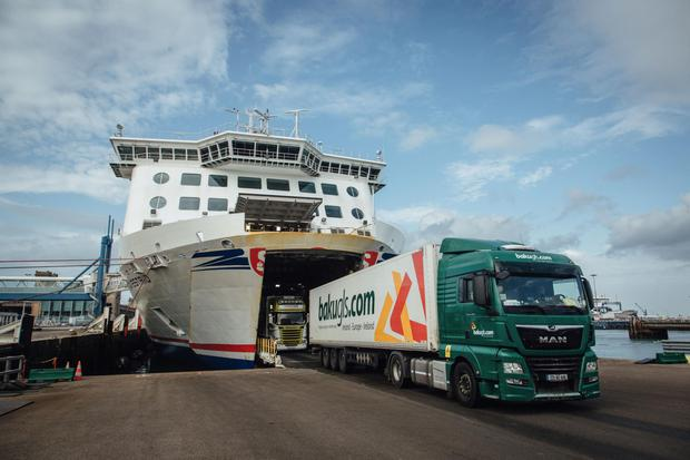 Haulage trucks arrive from Ireland at the Port of Cherbourg in France. Photo: Bloomberg