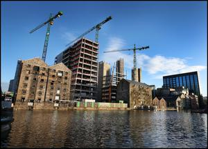 Driving the economy: Google's new apartments under development in Boland's Quay. The tech giant alone currently has a footprint of just under 1.2m square feet sq ft in the Dublin office market.