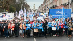 Deja vu all over again: Medical staff and supporters at the rally at Marrion Square in support of nurses and midwives. Photo: Frank McGrath
