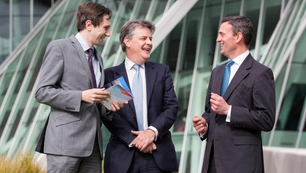 Picture shows from left Simon Harris TD, Minister of State at the Department of Finance with Special Responsibility for International Banking; EU Commissioner of Financial Stability, Financial Services and Capital Markets Union, Jonathan Hill; and Jonathon